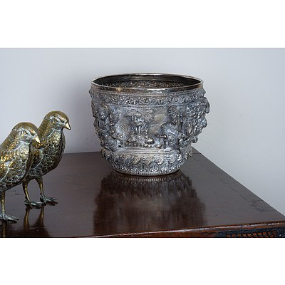 Burmese Silver Ceremonial Bowl with Heavy Repousse Decoration, 972g