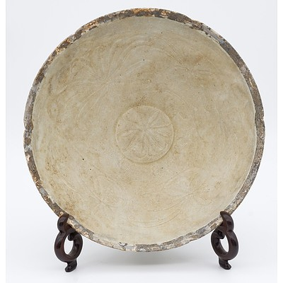 Chinese Dingyao Foliate Rim Bowl, Incised with Lotus, Song Dynasty 12th Century