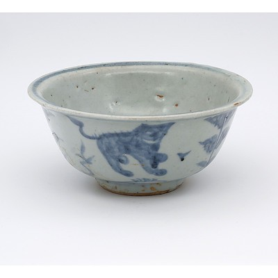 Chinese Late Ming Blue and White Bowl Decorated with Two Lions, 16th Century