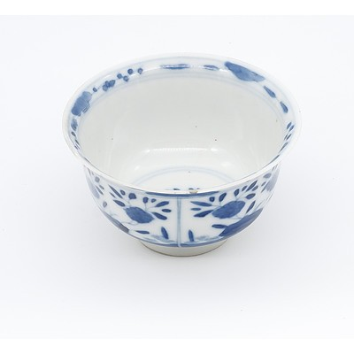 Small Chinese Blue and White Teabowl, Kangxi Period 1662-1722
