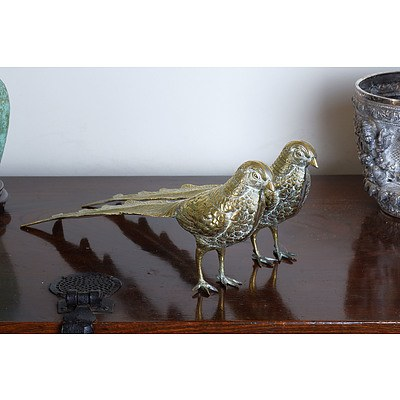 Two Middle Eastern Cast Brass Pheasants