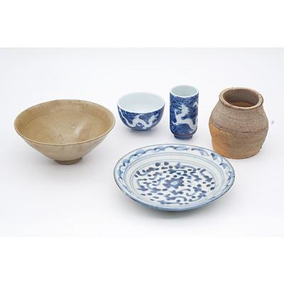 Small Korean Conical Teabowl Probably Koryo Goryeo Dynasty (918-1392) and a Group of Various Chinese Ceramics
