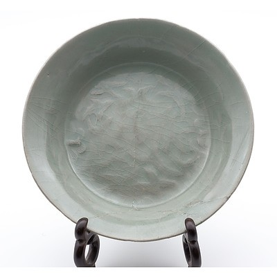Korean Celadon Dish with Carved Butterfly and Foliage Decoration, Koryo Goryeo Dynasty (918-1392)