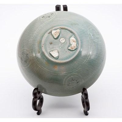Korean Slip Inlaid Celadon Dish, Koryo Goryeo Dynasty (918-1392)