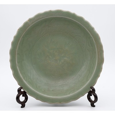 Chinese Longquan Celadon Foliate Rim Dish Incised with Peony, Ming Dynasty or Later