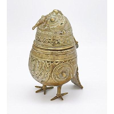 Indo Persian Cast Brass Bird Form Incense Burner