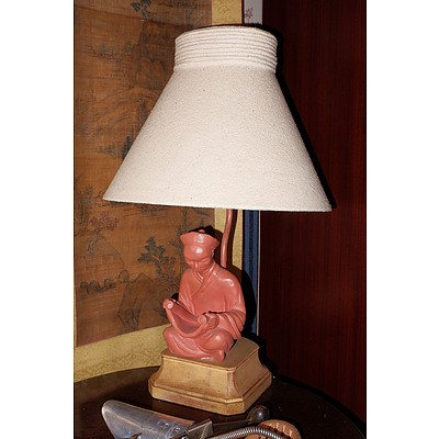 Vintage Amercian Art Deco Figural Ceramic Mandarin Table Lamp with Suede Shade