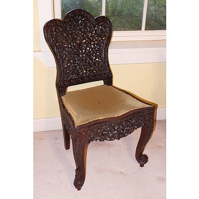 Anglo Burmese Pierced and Carved Side Chair, 19th Century