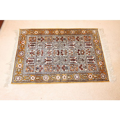 Small Persian Hand Knotted Silk Blended Wool Pile Rug