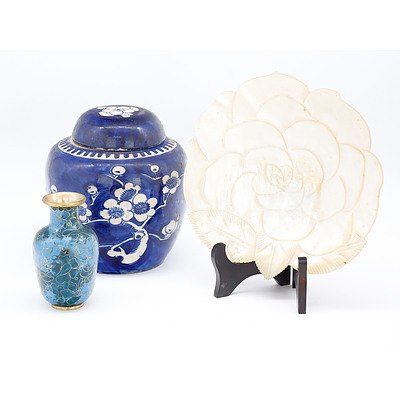 Chinese Blue and White Ginger Jar, Cloisonne Vase and Carved Shell Flower