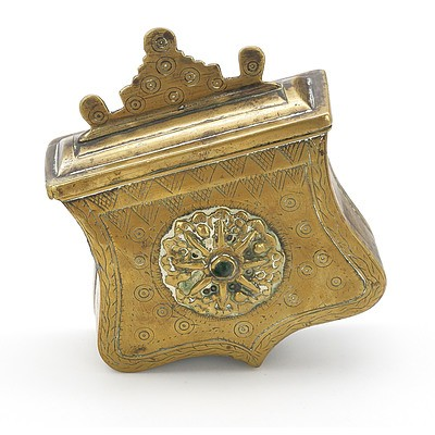 Middle Eastern Brass Belt Worn Box with Engraved and Cast Decoration with Central Inset Green Stone