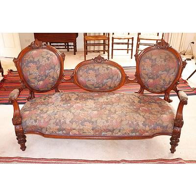 Victorian Walnut Triple Cameo Back Sofa, Circa 1880