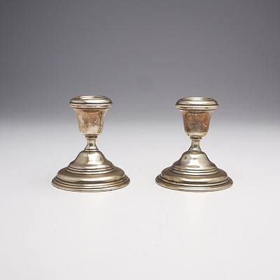 Pair of Persian 900 Silver Candlesticks, 215g