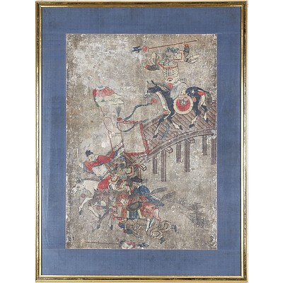 Korean Painting of Warriors on Horseback, Gouache and Ink on Paper, 19th Century or Earlier