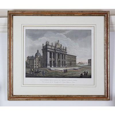 Ladislao Rupp (1793-1854) Veduta Esterna Della Basilica Di San Giovanni Laterano in Roma, Aquatint