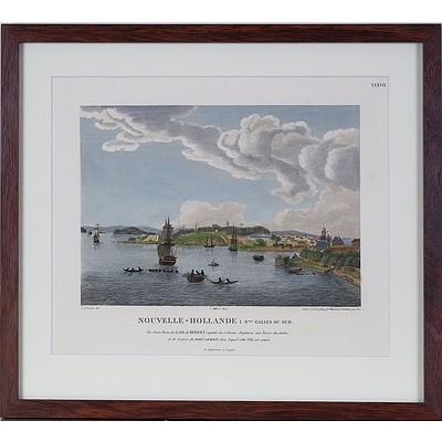 Charles Alexander Lesueur (1788-1846) Vue D'Une Partie de la Ville de Sydney .., Hand Coloured Engraving