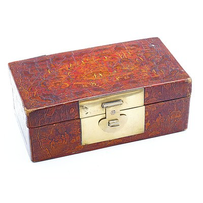 Chinese Export Lacquer Box with Copper Inlaid Brass Latch, 19th Century