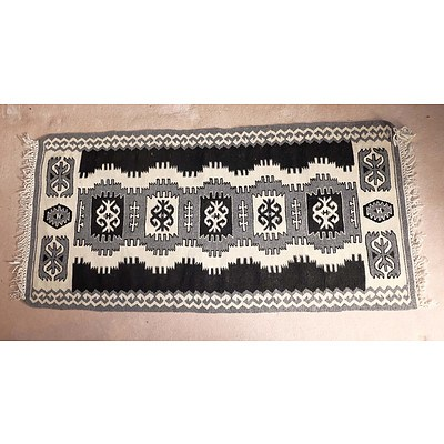 Small Hand Knotted Wool Pile Tribal Kilim