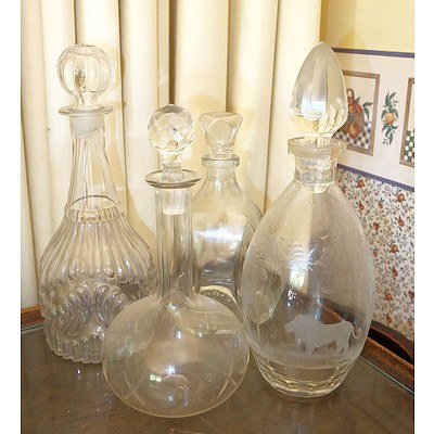 Four Crystal and Glass Decanters