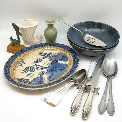 Large Group of Kitchen Wares, Including Antique Willow Serving Dish, Silver Plate Flatware and More