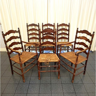 Six Vintage Rush Seated Ladderback Dining Chairs