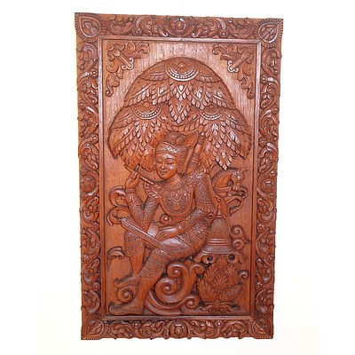 Four South East Asian Carved Teak Panels