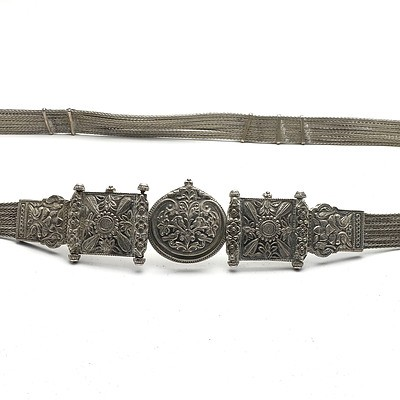 Indian Silver Belt with Repousse Buckle and Seven Braided Silver Wires Forming the Belt, 385g