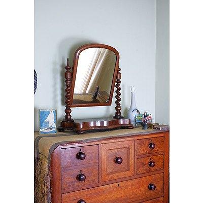 Late Victorian Mahogany Toilet Mirror