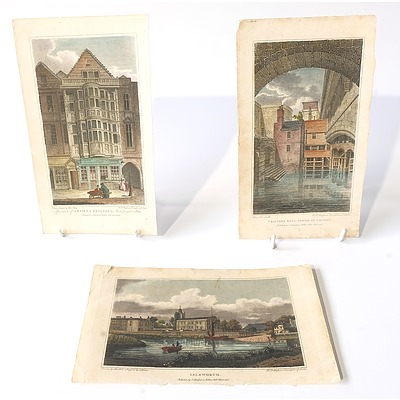 Three Antiquarian Hand Coloured Bookplates, Including Traitors Gate, Isleworth, and Ancient Building