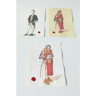 Three Prints of Macedonian National Dress on Handmade Paper
