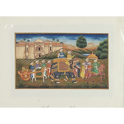 Indo Persian Miniature Painting of a Procession, Gouache and Ink on Paper, 20th Century