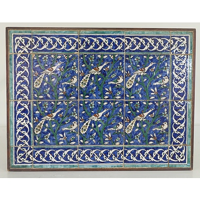 Turkish Iznik Style Glazed Tile Frieze Now Mounted as a Table, 20th Century
