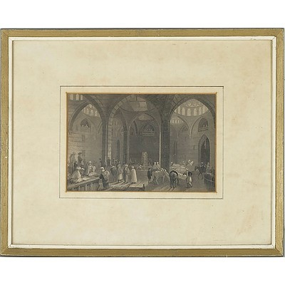 William Henry Bartlett (1809-1854) 19th Century Lithograph of the Great Khan at Damascus
