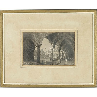 William Henry Bartlett (1809-1854) 19th Century Lithograph of Ancient Buildings in St Jean D'Acre (Acre), Israel