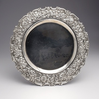 Chinese TaiPing Sterling Silver Tray with Heavy Repousse Border, 679g
