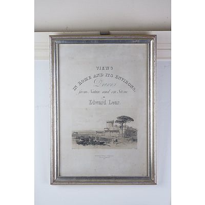 Edward Lear, View of Rome Lithograph, Published 1841