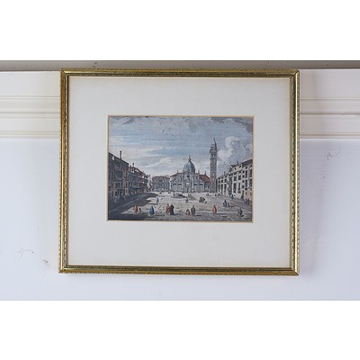 After Canaletto, Three Views of Venice, Hand Colored Engravings