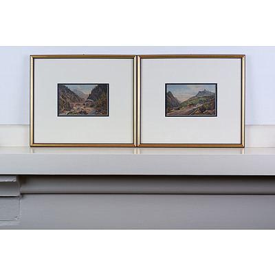 After Ferdinand Gatt (1847-1907) Dalaas 1886 and Wald on the Arlberg Pass 1886 Chromolithographs