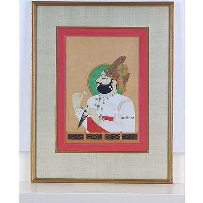 Indian Miniature Painting of Maharaja Man Singh of Jodhpur, Ink and Gouache on Paper, 20th Century Copy