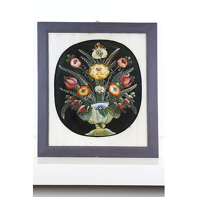 Antique Italian Reverse Glass Painting of a Vase with Flowers