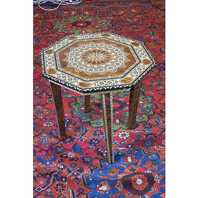 Iberian Hispano Moresque Marquetry Inlaid Octagonal Table