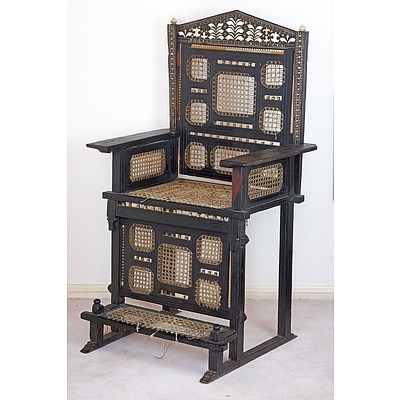 Important East African Swahili Coast Ivory and Bone Embellished Ebony Throne Chair, Kita Cha Enzi, 19th Century