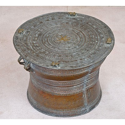 Shan States Tinned Bronze Rain Drum 20th Century