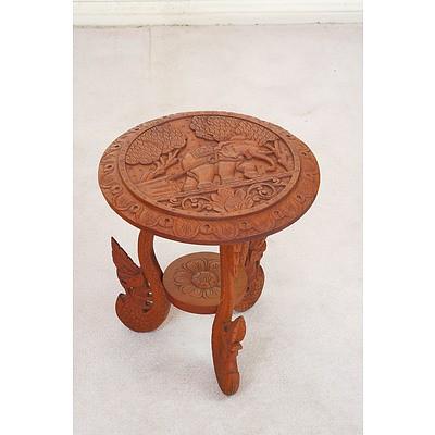 Vintage Burmese Carved Teak Elephant Form Low Table