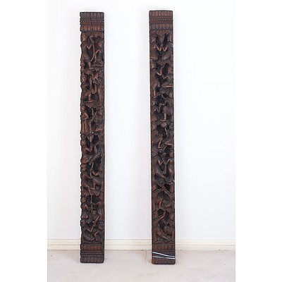 Burmese Heavily Carved and Pierced Architectural Posts