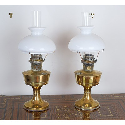 Pair of Aladdin Brass Oil Lamps with Milk Glass Shades