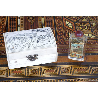 Chinese Engraved Bone Box and a Inside Painted Snuff Bottle