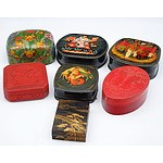 Seven Various Boxes, Including Russian Lacquered Papier-Mache, Cinnabar, Embossed Leather Etc