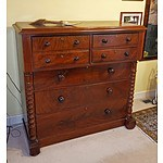 Australian Cedar Chest of Drawers with Cantilever Top and Half Columns, Circa 1870