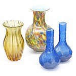 Group of Colored Glass Vases